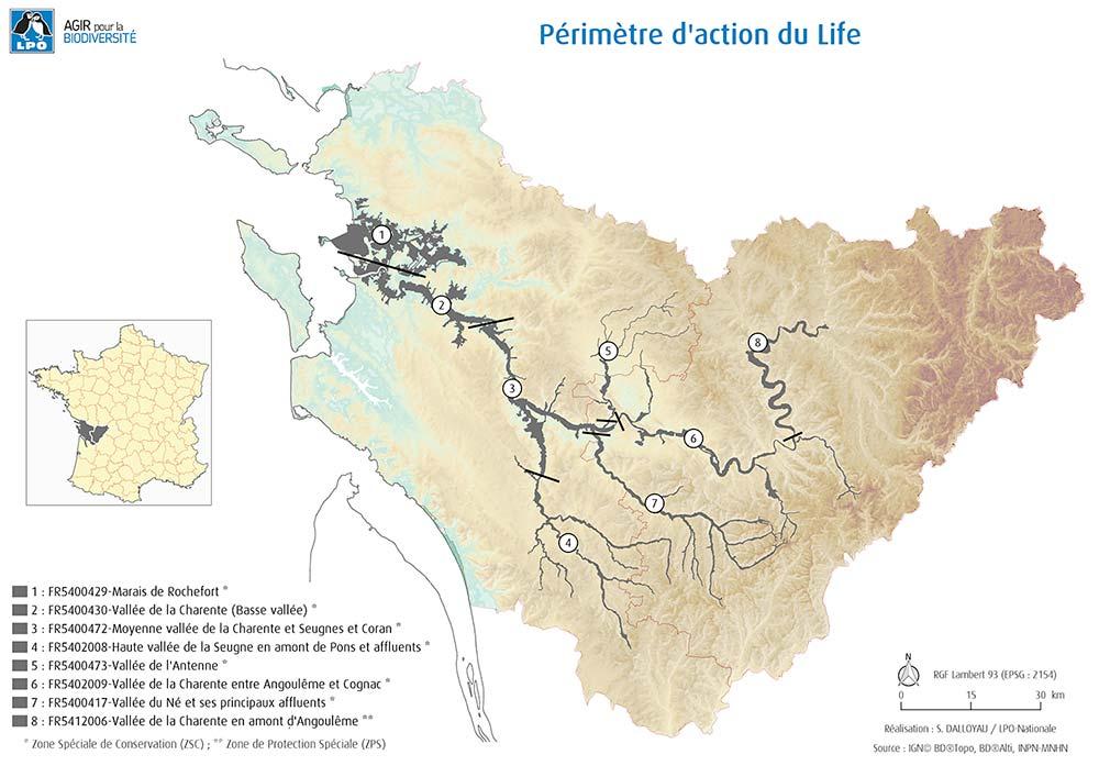 Carte des 8 sites Natura 2000 constituant le périmètre d'action du programme Life Vison